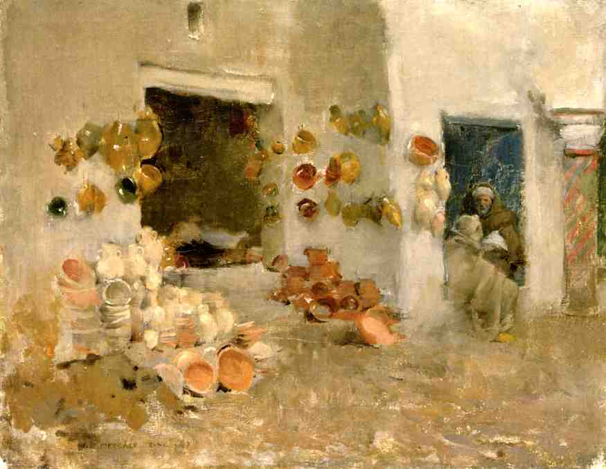 famous painting Pottery Shop at Tunis of Willard Leroy Metcalf