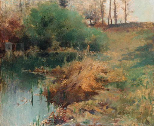 famous painting Spring Study of Reeds in Chadwick's Garden at Grèz of Willard Leroy Metcalf