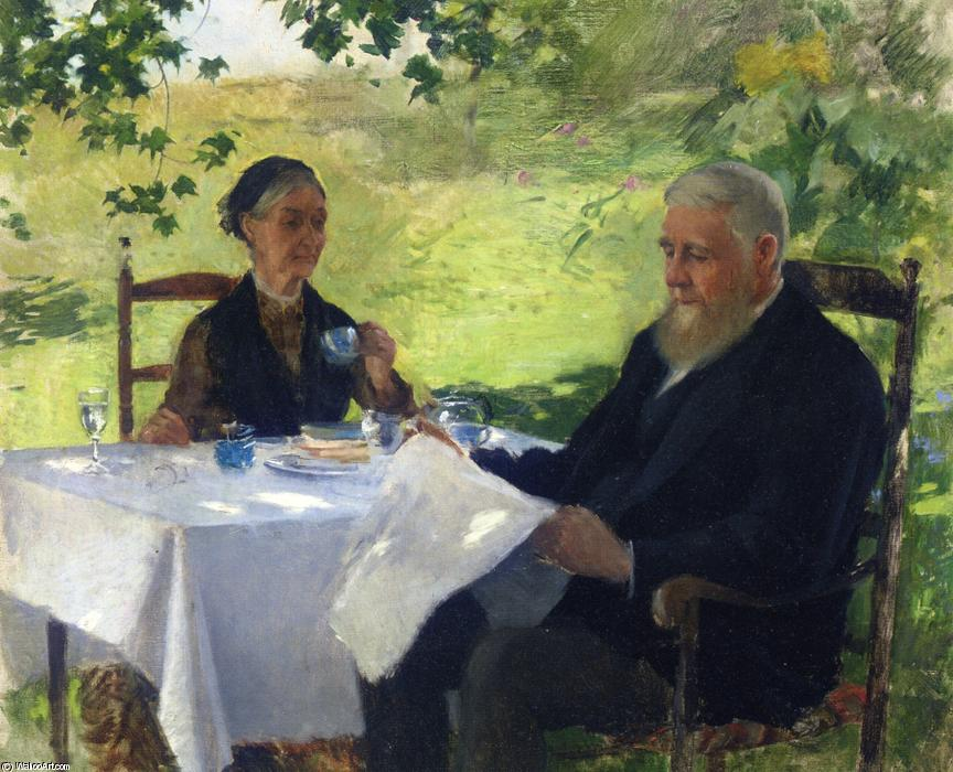 famous painting Tea on the Porch of Willard Leroy Metcalf