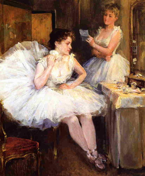 famous painting The Ballet Dancers (Aka The Dressing Room) of Willard Leroy Metcalf