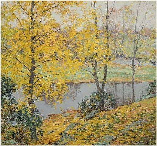 famous painting The Golden Screen of Willard Leroy Metcalf