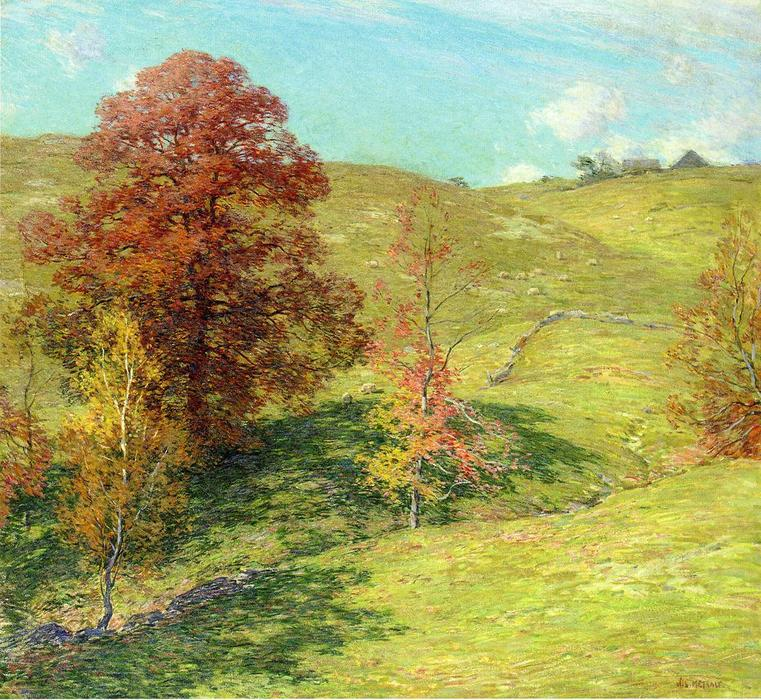famous painting The Red Oak (no.2) of Willard Leroy Metcalf