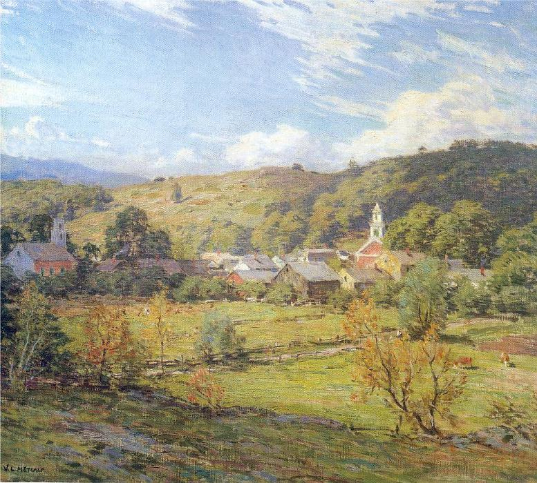 famous painting The Village- September Morning of Willard Leroy Metcalf