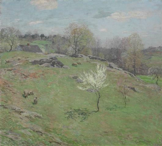 famous painting Unfolding Buds of Willard Leroy Metcalf