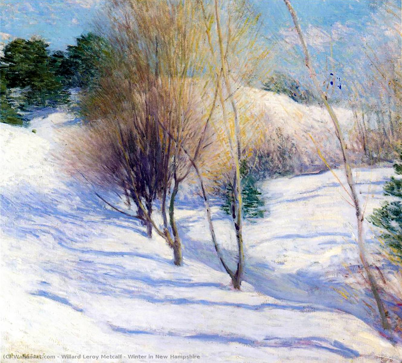 famous painting Winter in New Hampshire of Willard Leroy Metcalf