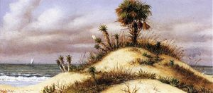 William Aiken Walker - Florida Seascape with Sand Dune, Palm Tree, Yucca, Cactus and Sailboat