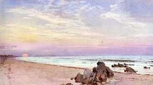 William Trost Richards - Beach with Rising Sun, New Jersey