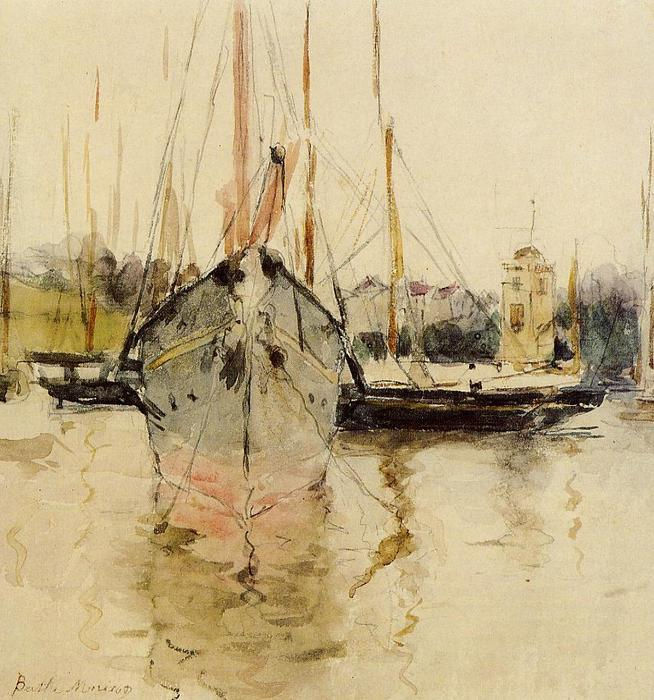famous painting Boats - Entry to the Medina in the Isle of Wight (aka pugad baboy) of Berthe Morisot