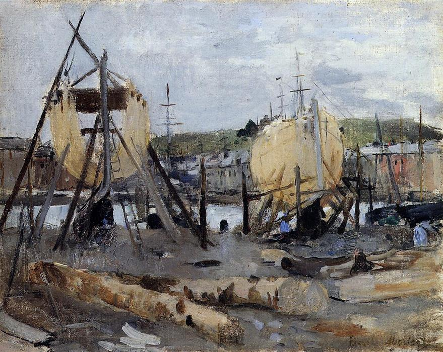 famous painting Boats under Construction of Berthe Morisot