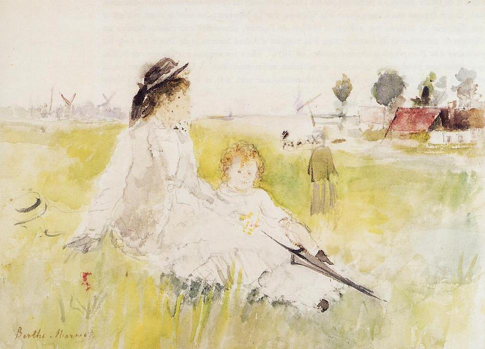 famous painting Girl and Child on the Grass of Berthe Morisot