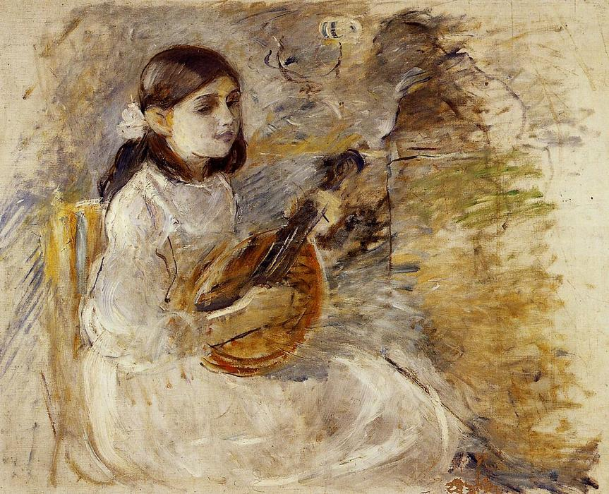 famous painting Girl Playing the Mandolin of Berthe Morisot