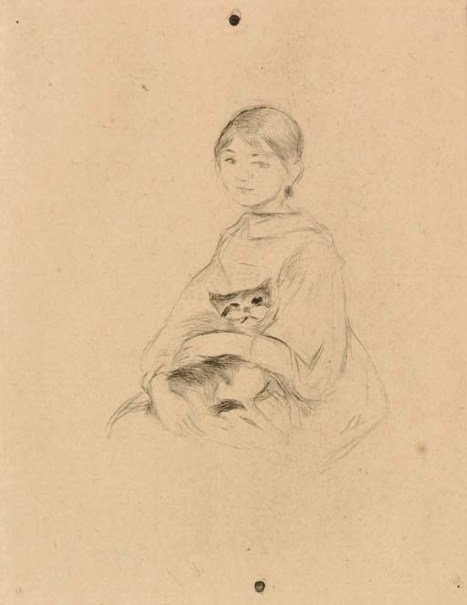 famous painting Jeune fille au chat of Berthe Morisot