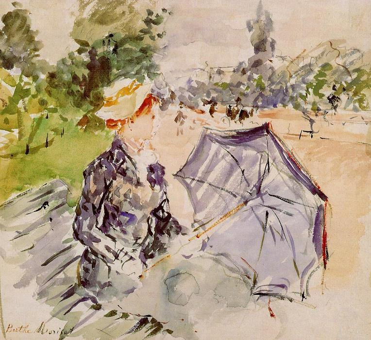 famous painting Lady with a Parasol Sitting in a Park of Berthe Morisot