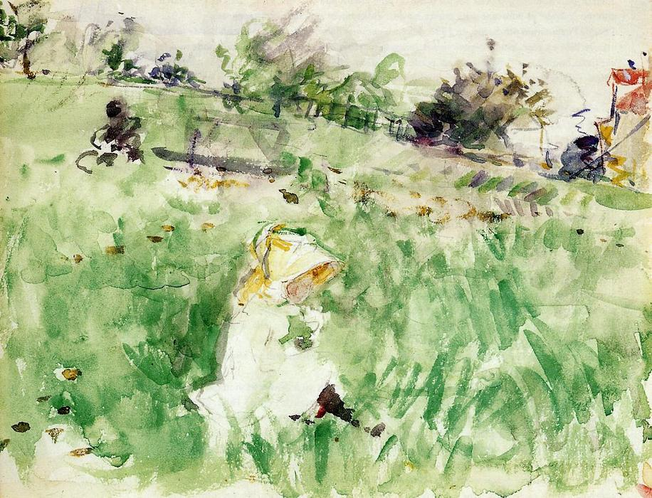 famous painting Little Girl Sitting on the Grass of Berthe Morisot