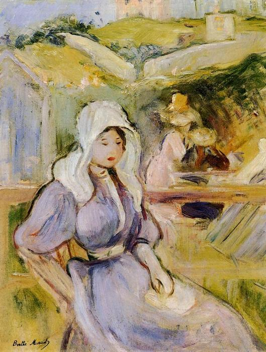 famous painting On the Beach at Portrieux of Berthe Morisot