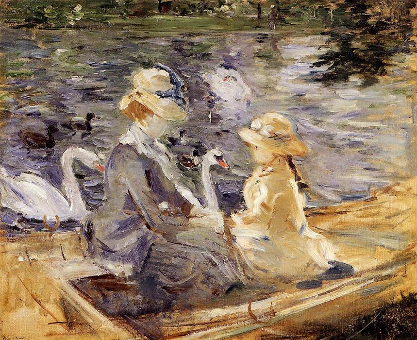 famous painting On the Lake in the Bois de Boulogne of Berthe Morisot