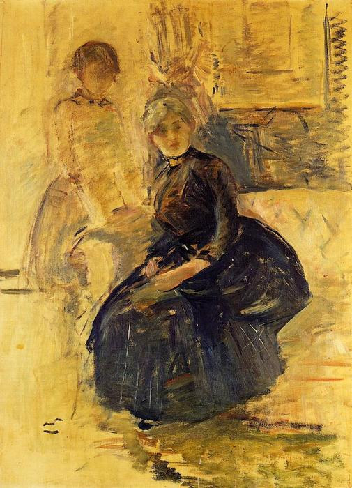 famous painting Self-Portrait with Julie (study) of Berthe Morisot