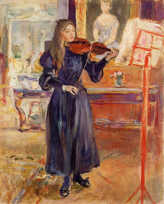 famous painting Studying the Violin of Berthe Morisot