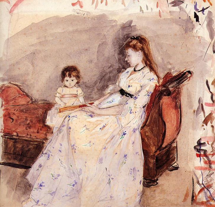 famous painting The Artist's Sister Edma with Her Daughter Jeanne of Berthe Morisot