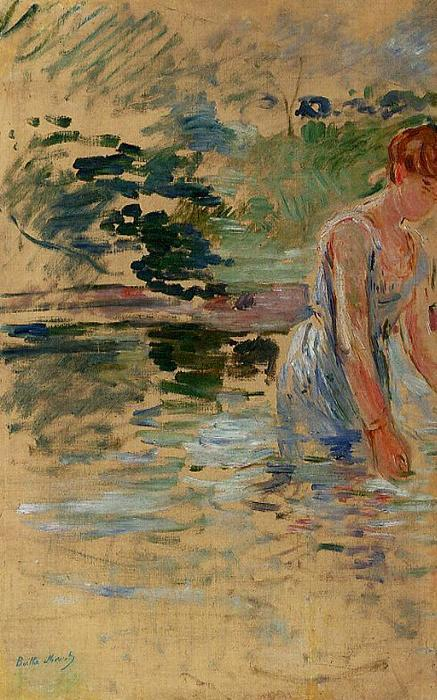 famous painting The Bath at Mesnil of Berthe Morisot