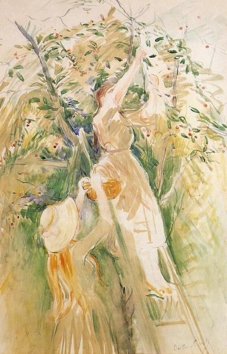 famous painting The Cherry Tree (study) of Berthe Morisot