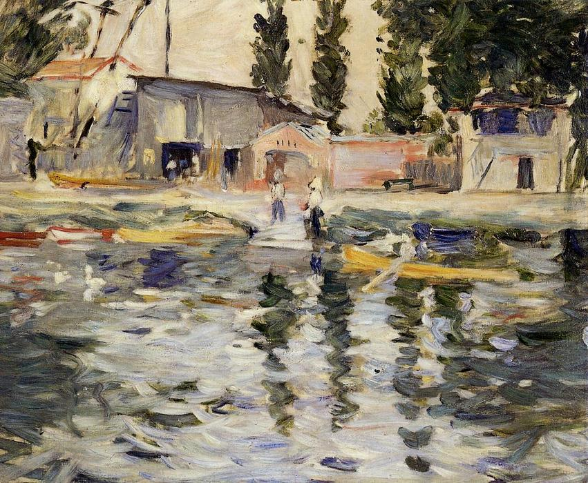 famous painting The Seine at Bougival of Berthe Morisot
