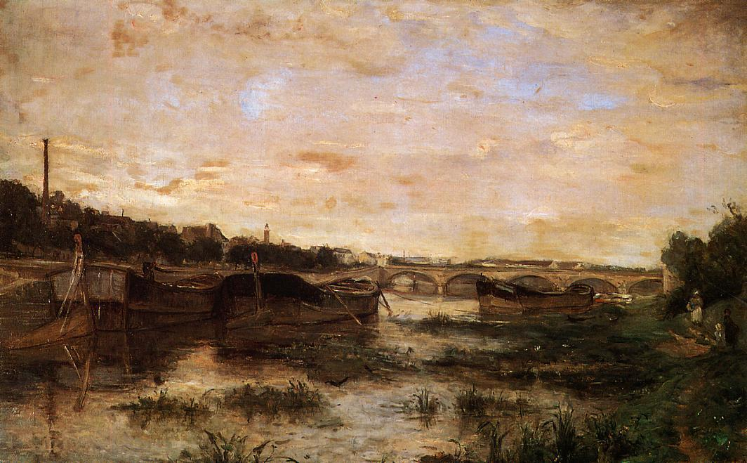 famous painting The Seine below the Pont d'Lena of Berthe Morisot