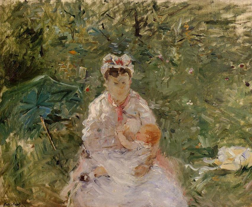 famous painting The Wet Nurse Angele Feeding Julie Manet of Berthe Morisot