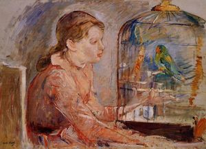 Berthe Morisot - Young Girl and the Budgie