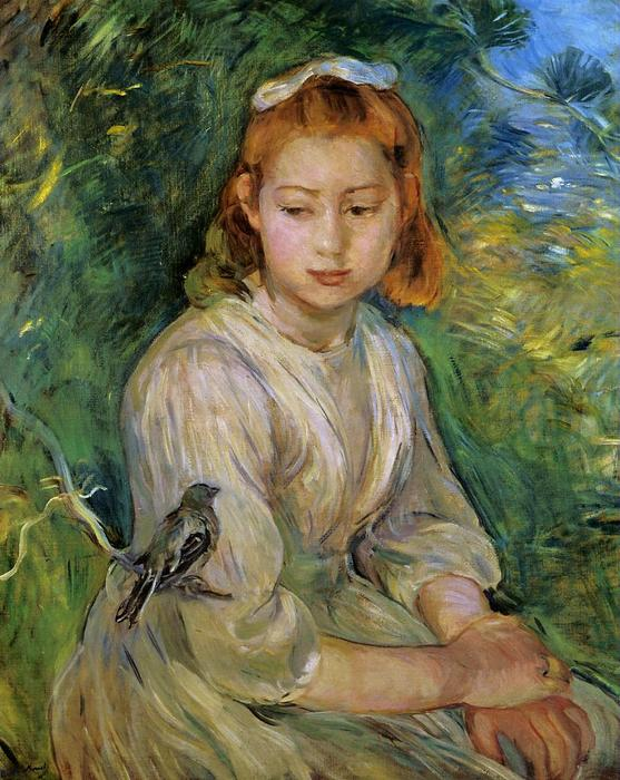 famous painting Young Girl with a Bird of Berthe Morisot