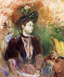 Berthe Morisot - Young Woman and Child, Avenue du Bois