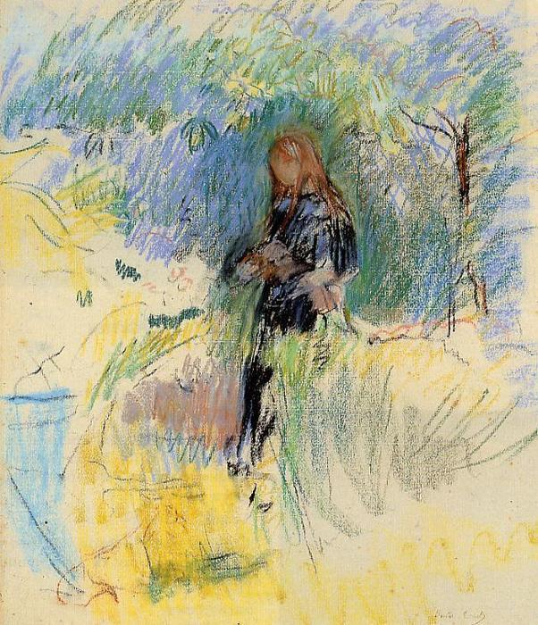 famous painting Young Woman Holding a Dog in Her Arms of Berthe Morisot
