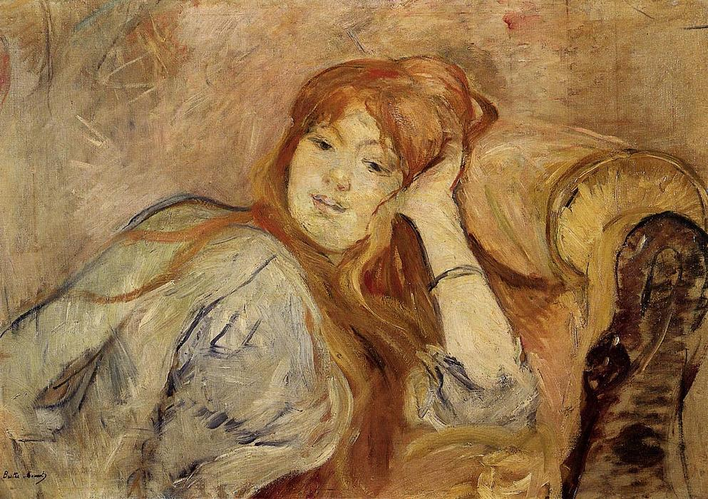 famous painting Young Woman Leaning on Her Elbow of Berthe Morisot