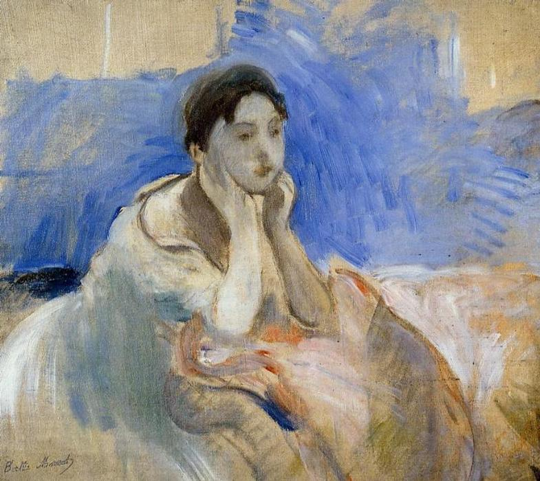 famous painting Young Woman Leaning on Her Elbows of Berthe Morisot