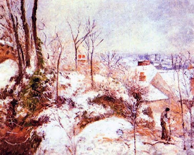famous painting A Cottage in the Snow of Camille Pissarro