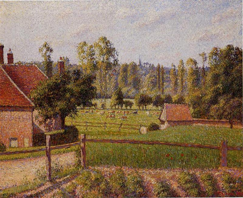 famous painting A Meadow in Eragny of Camille Pissarro