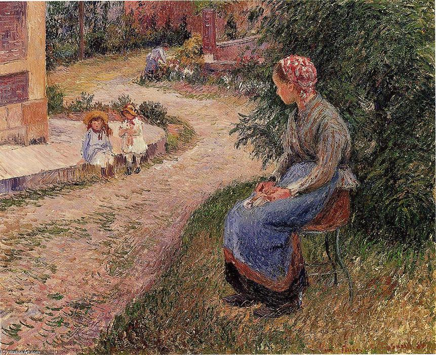 famous painting A Servant Seated in the Garden at Eragny of Camille Pissarro