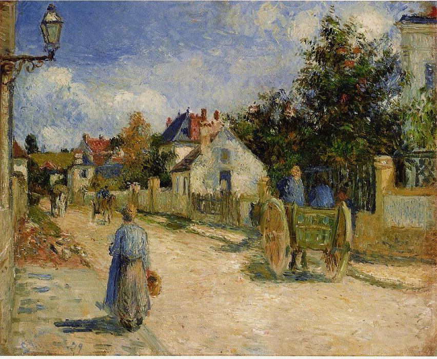 famous painting A Street in Pontoise of Camille Pissarro