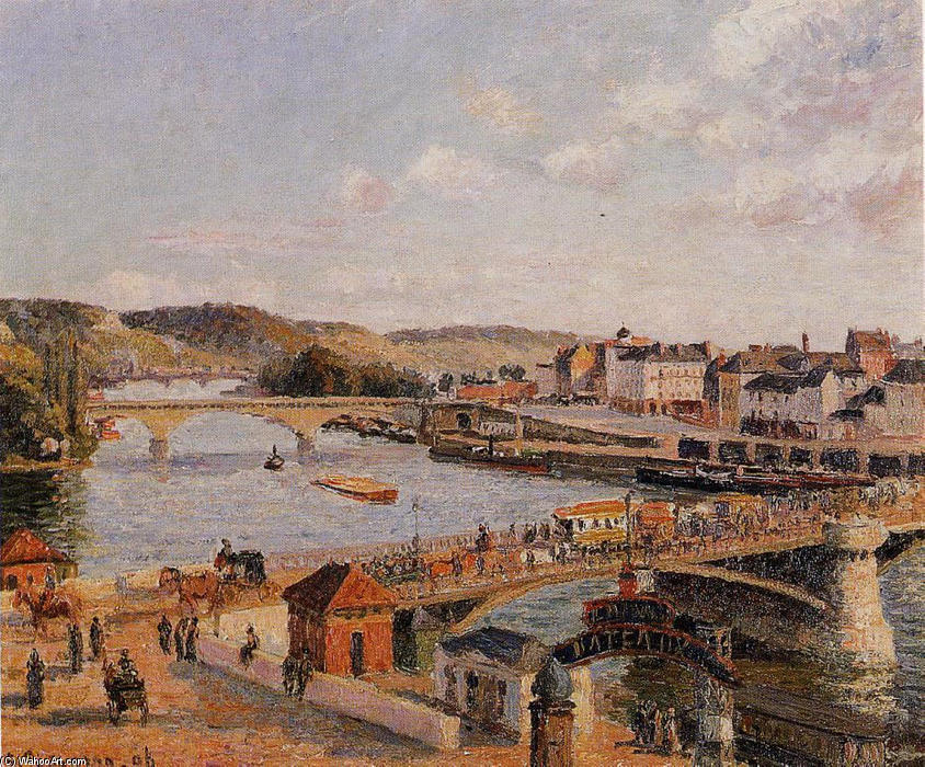 famous painting Afternoon, Sun, Rouen of Camille Pissarro