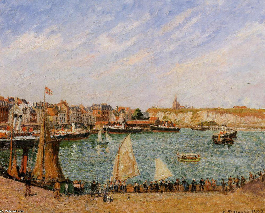 famous painting Afternoon, Sun, the Inner Harbor, Dieppe of Camille Pissarro