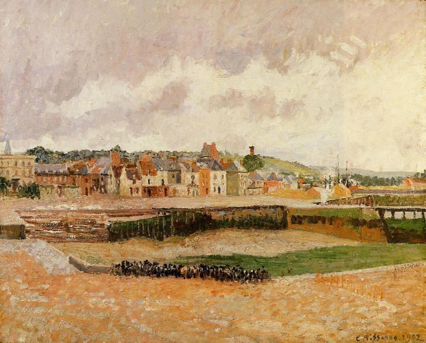 famous painting Afternoon, the Dunquesne Basin, Dieppe, Low Tide of Camille Pissarro
