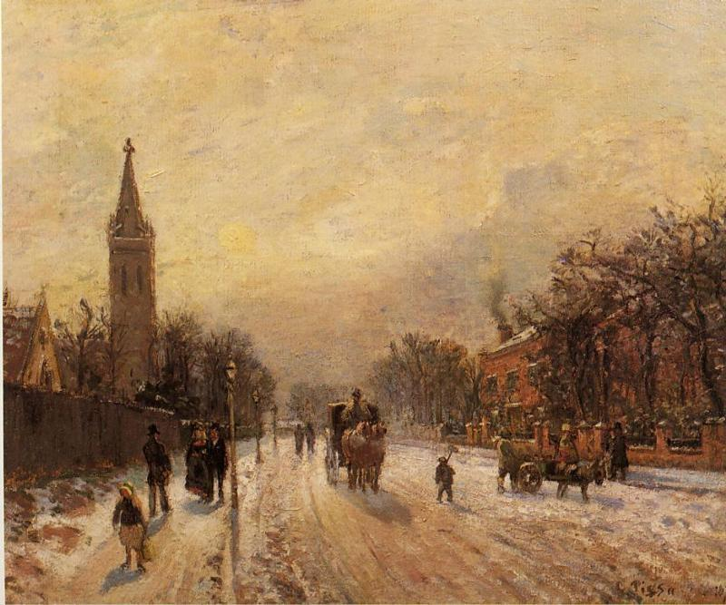 famous painting All Saints' Church, Upper Norwood of Camille Pissarro