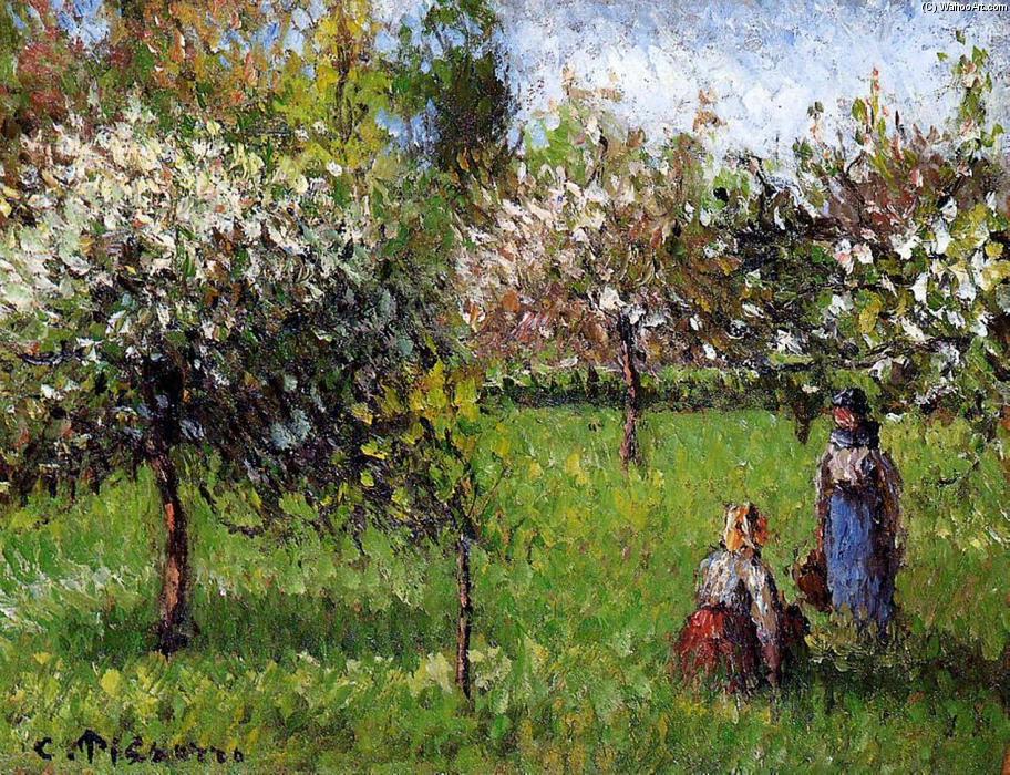 famous painting Apple Blossoms, Eragny of Camille Pissarro