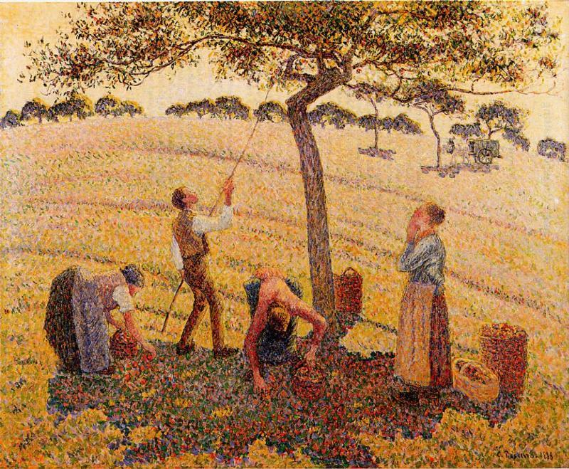 famous painting Apple Pickers, Eragny of Camille Pissarro