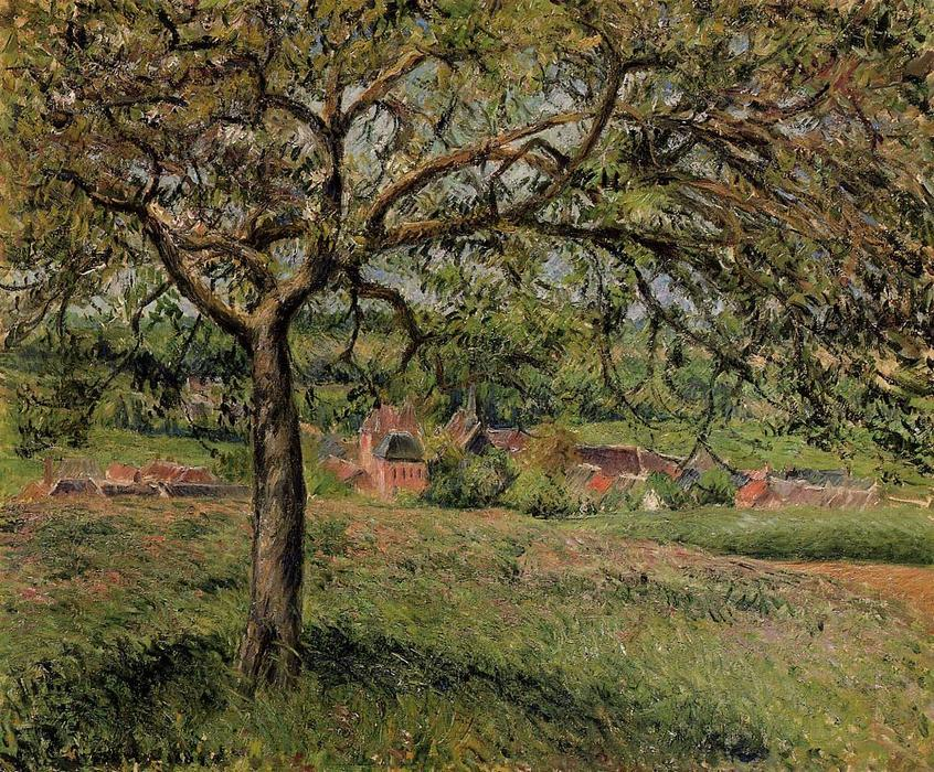 famous painting Apple Tree at Eragny of Camille Pissarro