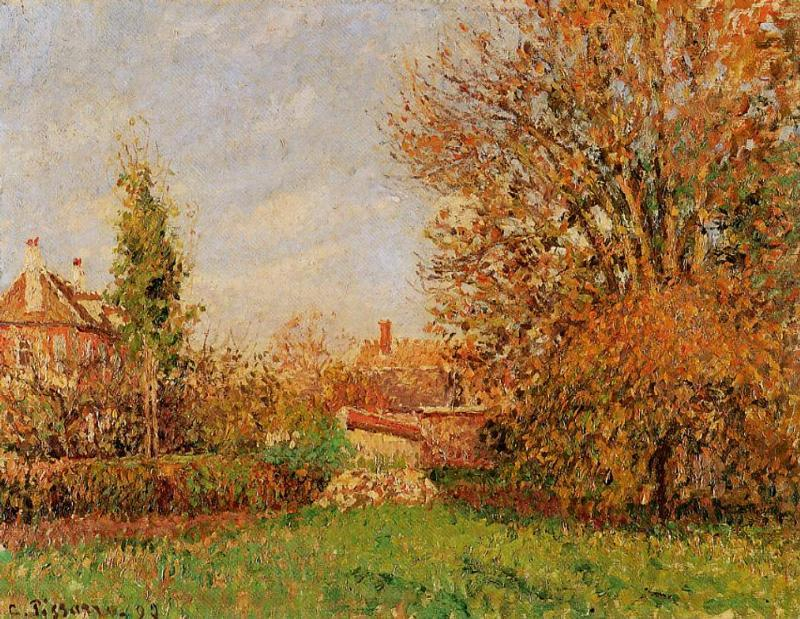 famous painting Autunm in Eragny of Camille Pissarro
