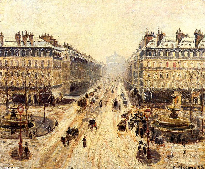 famous painting Avenue de l'Opera. Snow Effect 1 of Camille Pissarro
