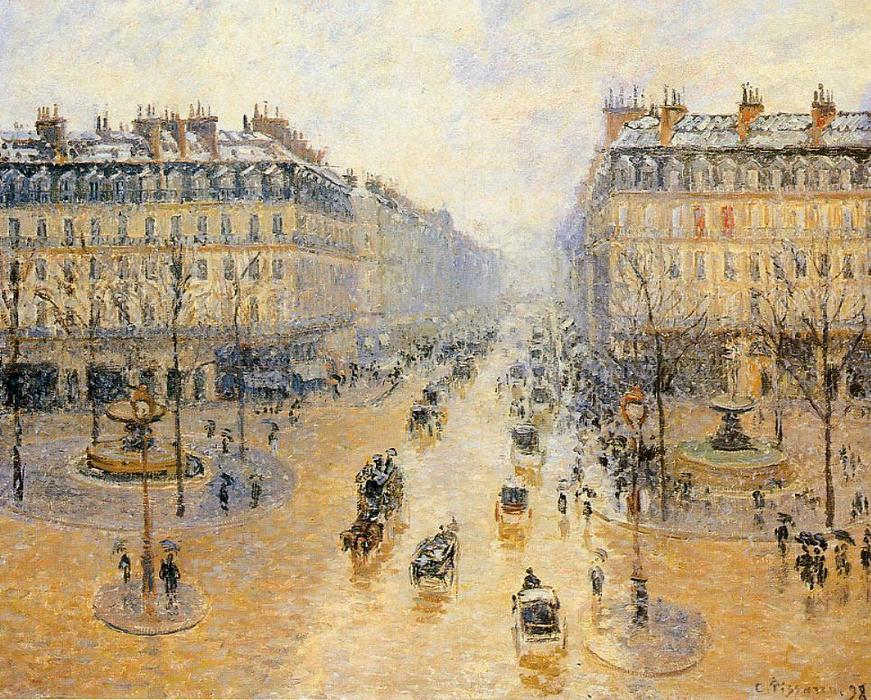 famous painting Avenue de l'Opera, Snow Effect of Camille Pissarro