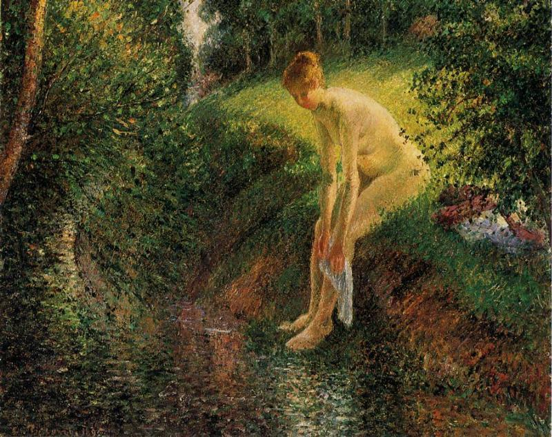famous painting Bather in the Woods of Camille Pissarro