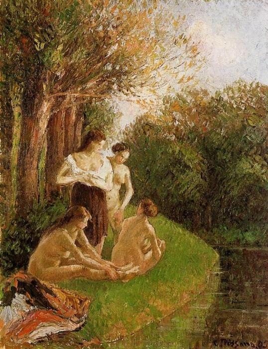 famous painting Bathers 1 of Camille Pissarro